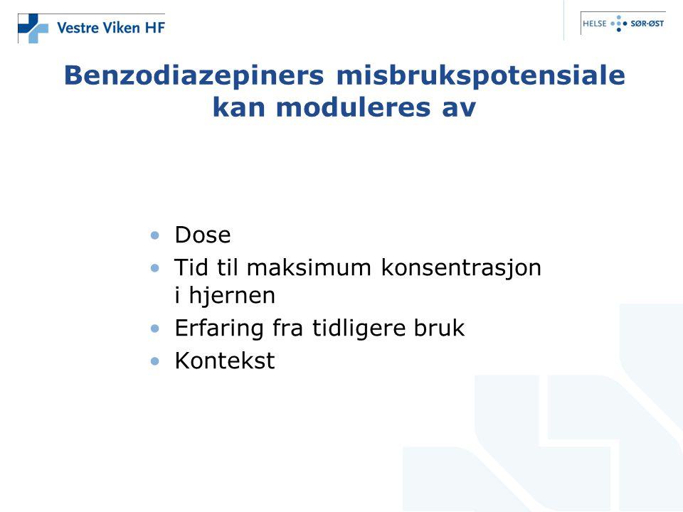 Benzodiazepiners misbrukspotensiale kan moduleres av