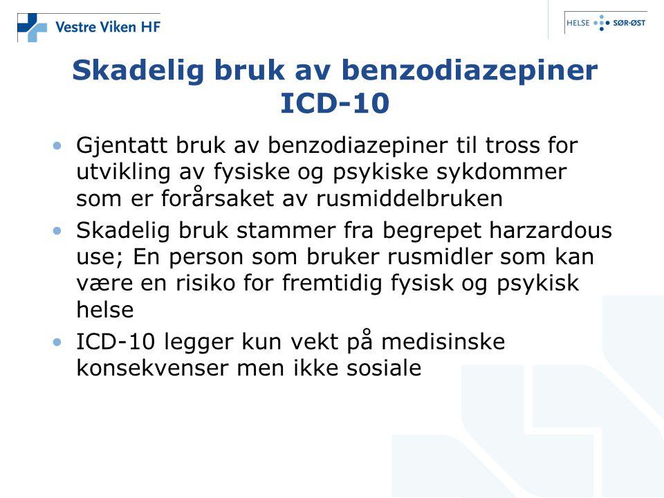 Skadelig bruk av benzodiazepiner ICD-10