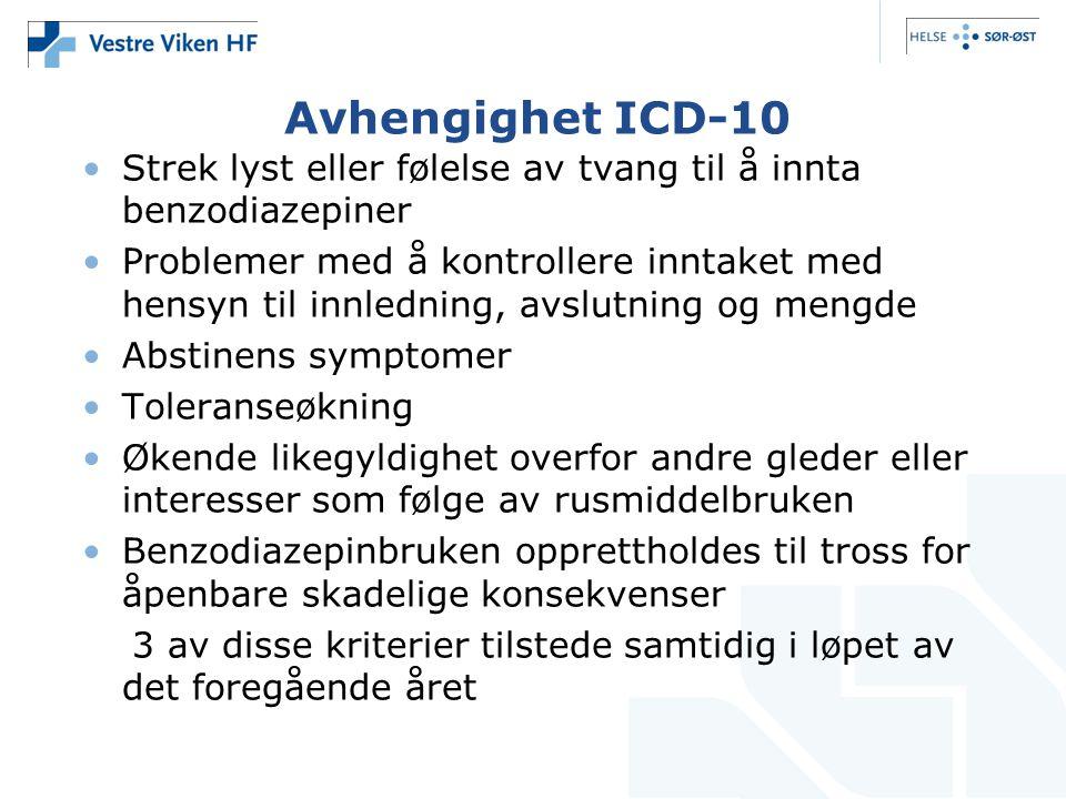 Avhengighet ICD-10 Strek lyst eller følelse av tvang til å innta benzodiazepiner.