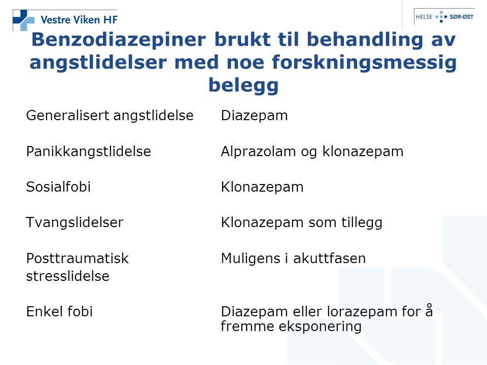 Benzodiazepiner brukt til behandling av angstlidelser med noe forskningsmessig belegg