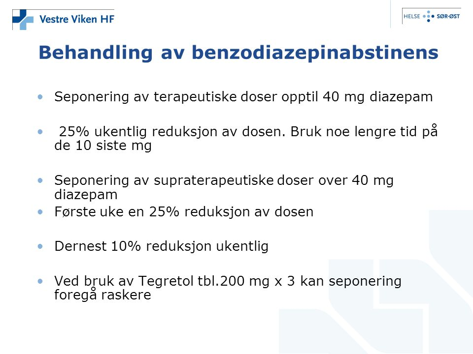 Behandling av benzodiazepinabstinens