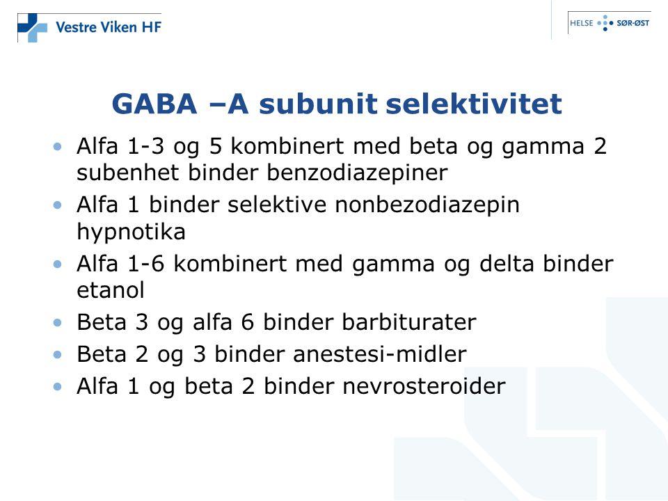 GABA –A subunit selektivitet