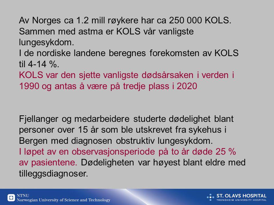 Av Norges ca 1.2 mill røykere har ca 250 000 KOLS.