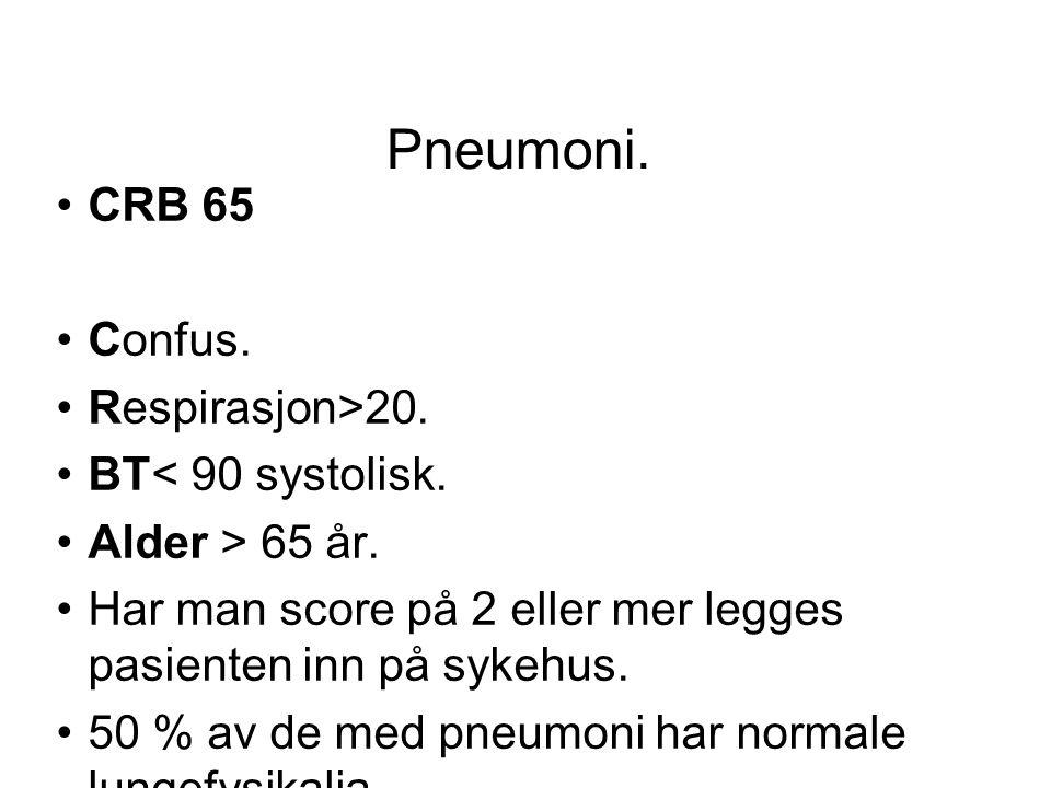Pneumoni. CRB 65 Confus. Respirasjon>20. BT< 90 systolisk.