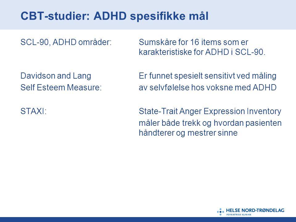 CBT-studier: ADHD spesifikke mål