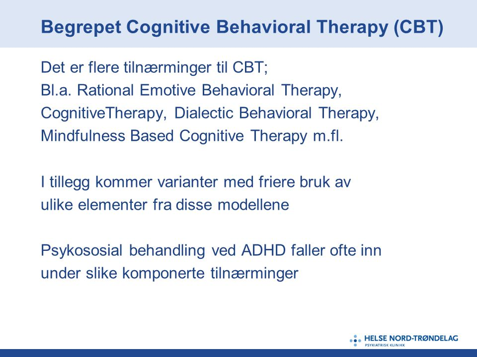Begrepet Cognitive Behavioral Therapy (CBT)