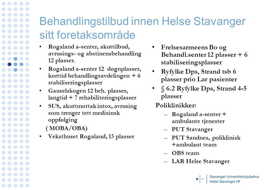 Behandlingstilbud innen Helse Stavanger sitt foretaksområde
