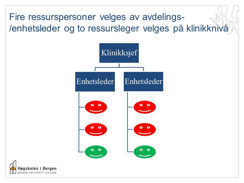 Fire ressurspersoner velges av avdelings-/enhetsleder og to ressursleger velges på klinikknivå