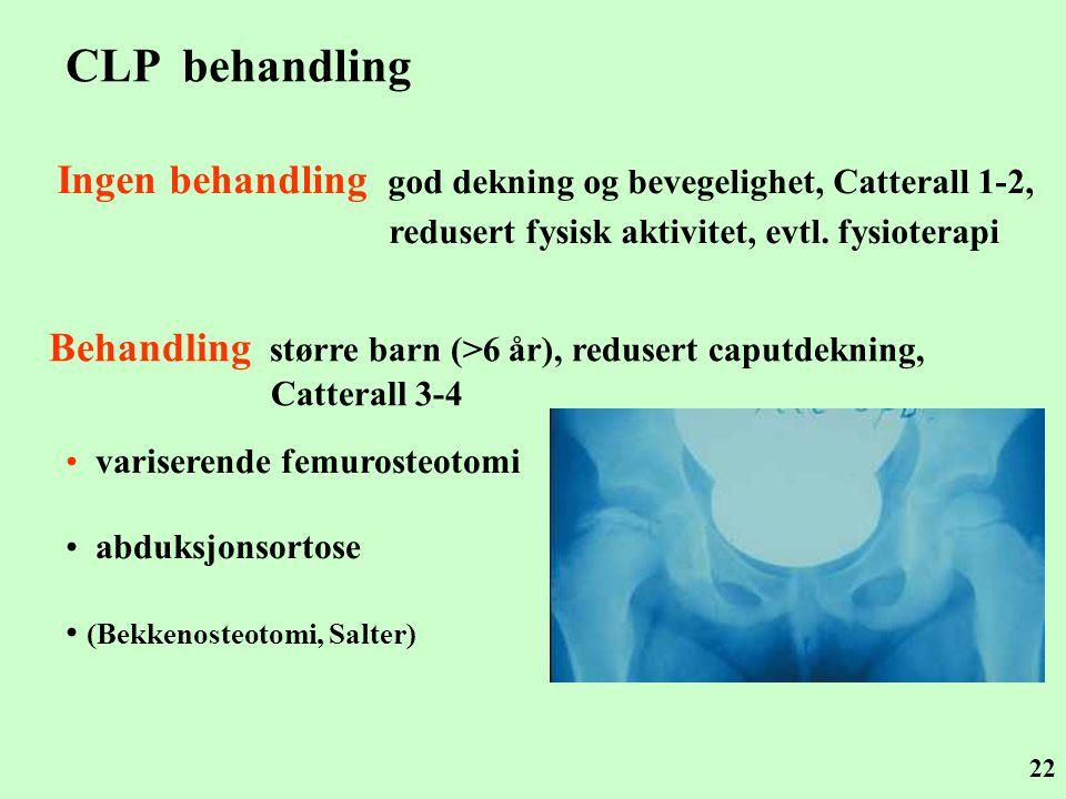CLP behandling Ingen behandling god dekning og bevegelighet, Catterall 1-2, redusert fysisk aktivitet, evtl. fysioterapi.
