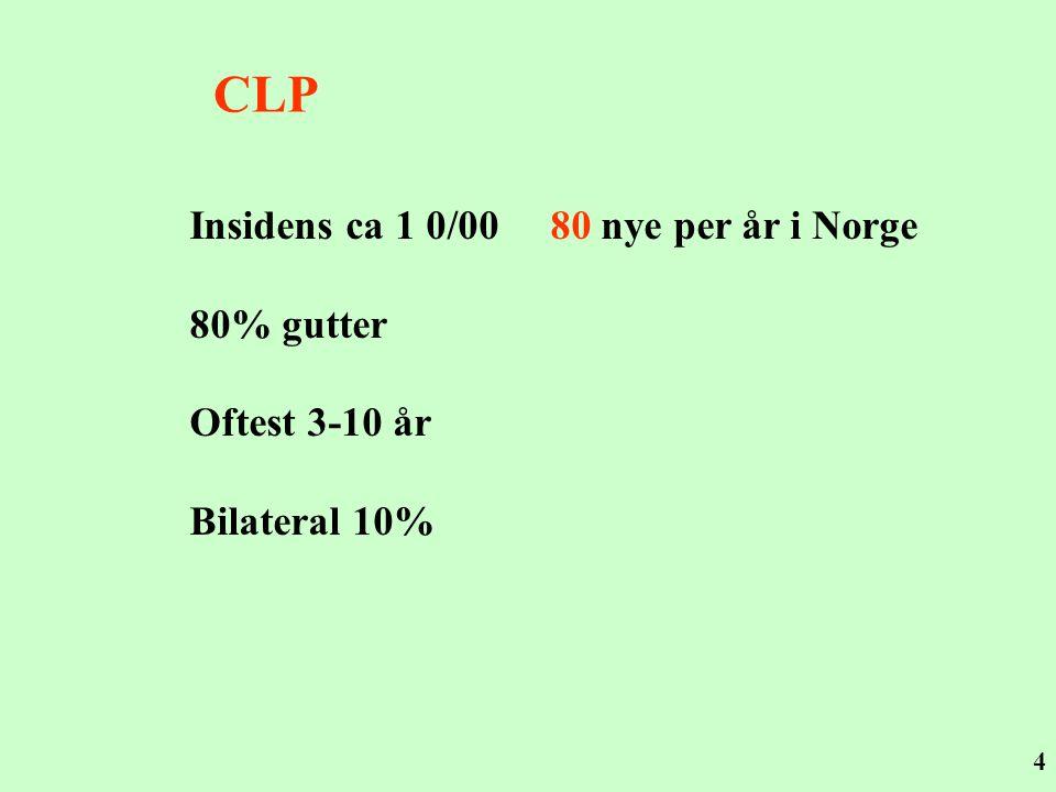 CLP Insidens ca 1 0/00 80 nye per år i Norge 80% gutter Oftest 3-10 år