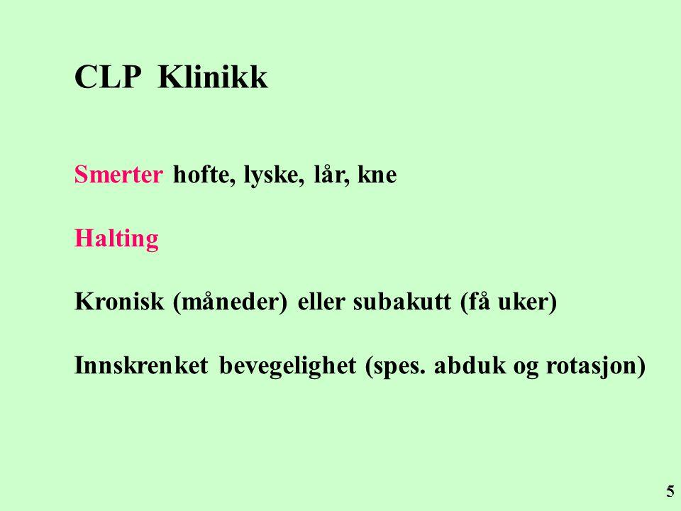 CLP Klinikk Smerter hofte, lyske, lår, kne Halting