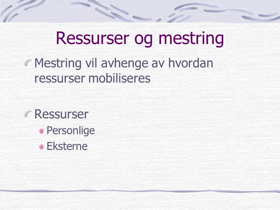 Ressurser og mestring Mestring vil avhenge av hvordan ressurser mobiliseres. Ressurser. Personlige.