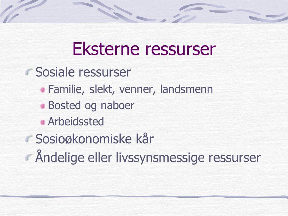 Eksterne ressurser Sosiale ressurser Sosioøkonomiske kår