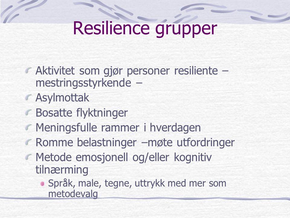 Resilience grupper Aktivitet som gjør personer resiliente – mestringsstyrkende – Asylmottak. Bosatte flyktninger.