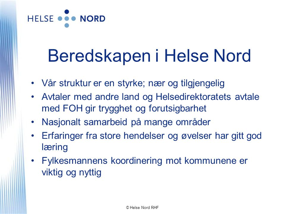 Beredskapen i Helse Nord