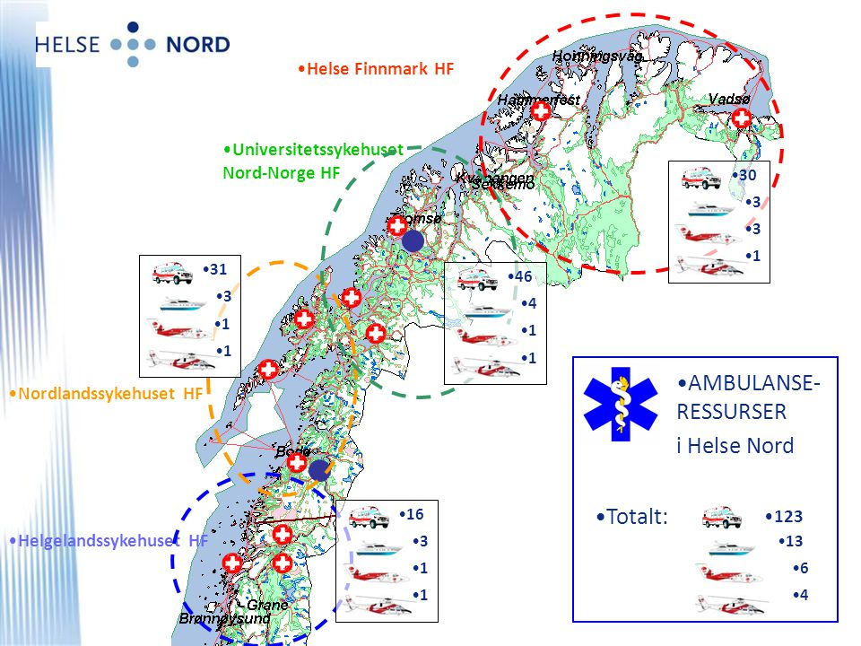 AMBULANSE-RESSURSER i Helse Nord Totalt: Helse Finnmark HF