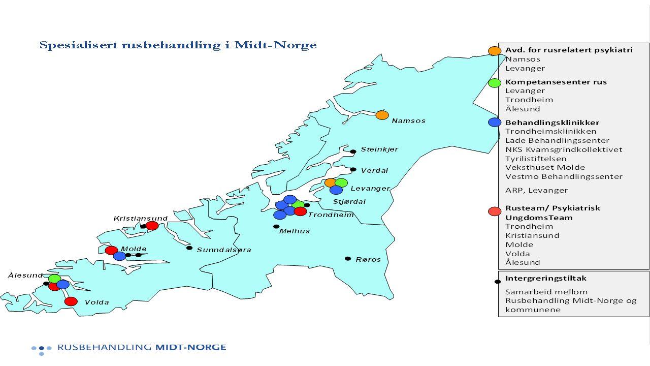 Integreringstiltak – viktig risikoreduserende tiltak ift tilbakefall til rus. tiltak i 10 kommuner. Molde, Trondheim og Ålesund trekkes frem