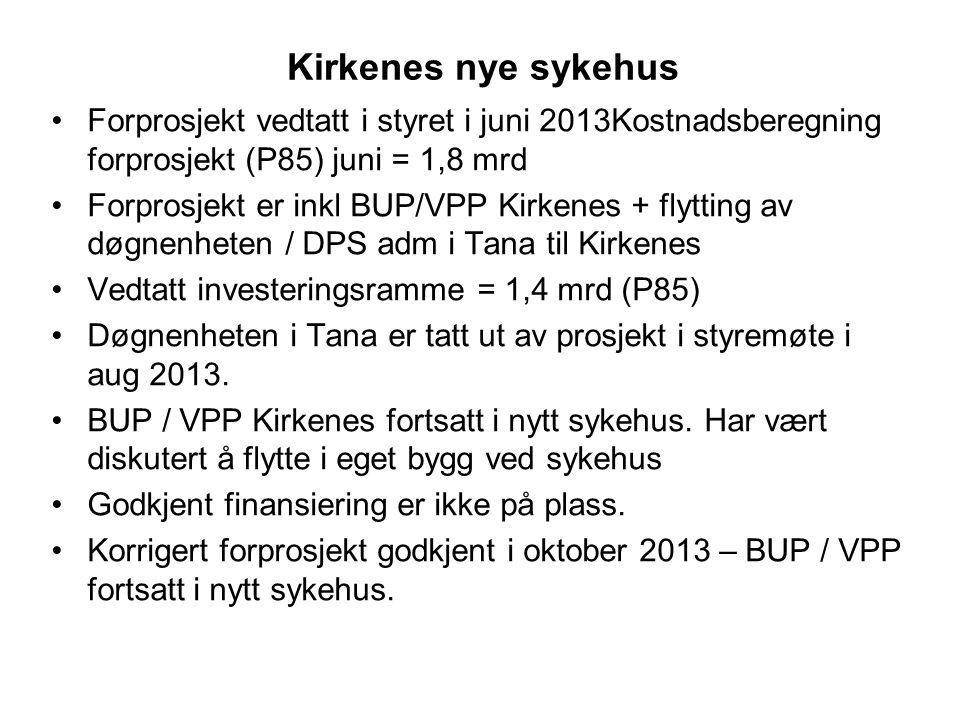 Kirkenes nye sykehus Forprosjekt vedtatt i styret i juni 2013Kostnadsberegning forprosjekt (P85) juni = 1,8 mrd.