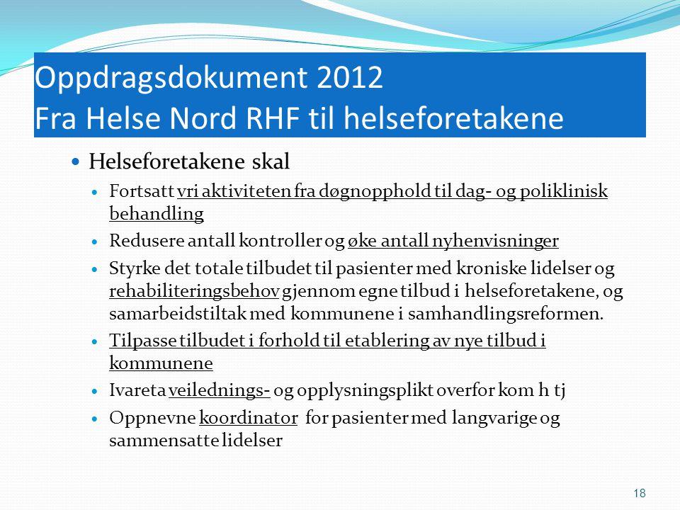 Oppdragsdokument 2012 Fra Helse Nord RHF til helseforetakene