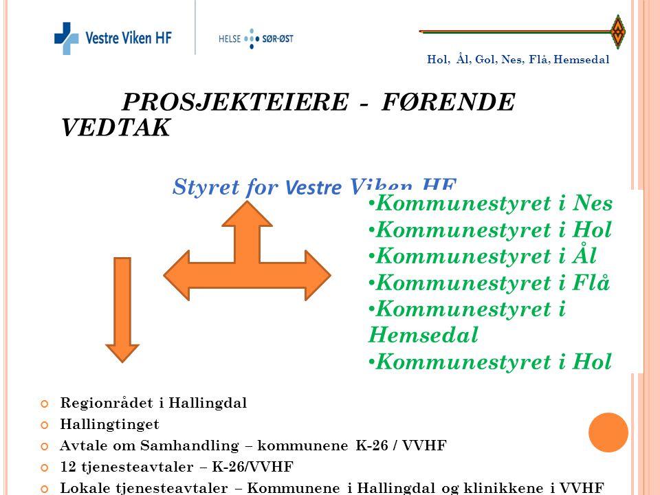 PROSJEKTEIERE - FØRENDE VEDTAK