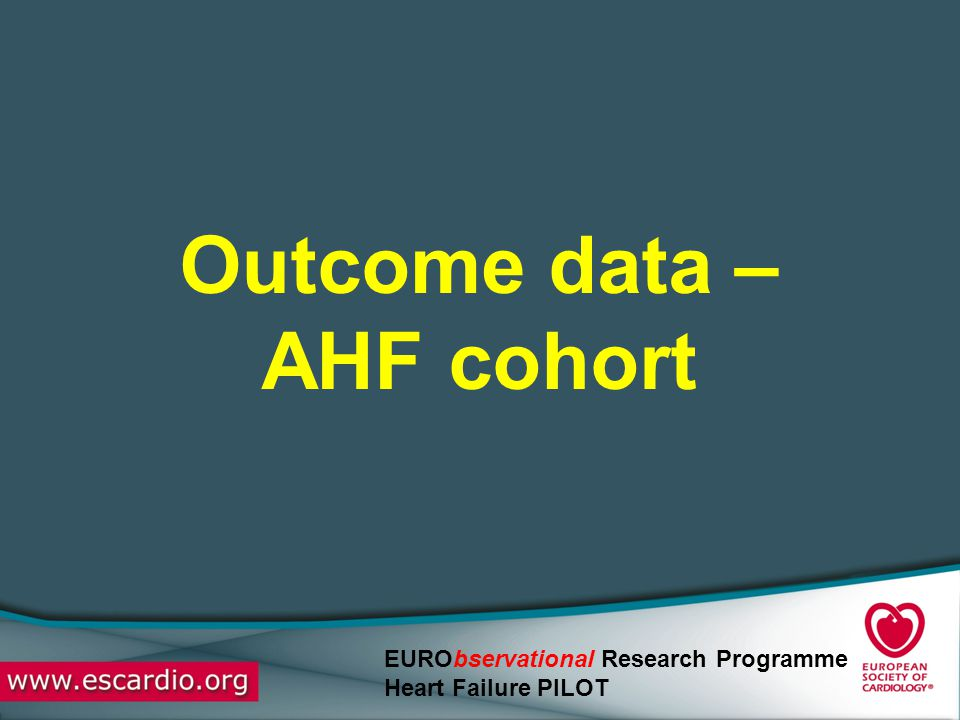 Outcome data – AHF cohort