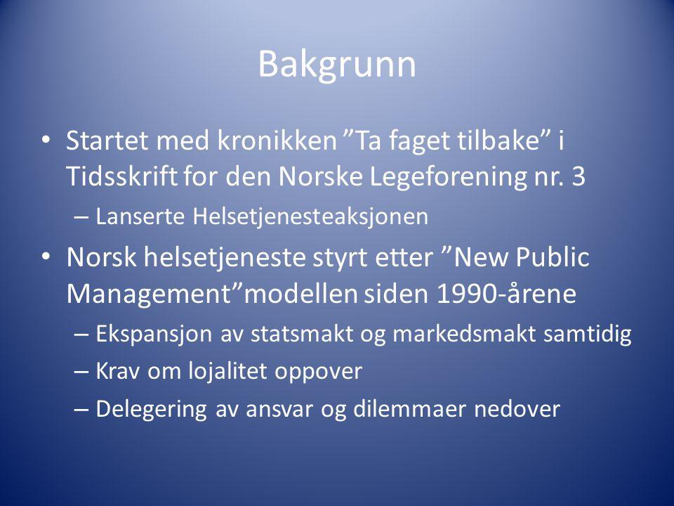 Bakgrunn Startet med kronikken Ta faget tilbake i Tidsskrift for den Norske Legeforening nr. 3. Lanserte Helsetjenesteaksjonen.