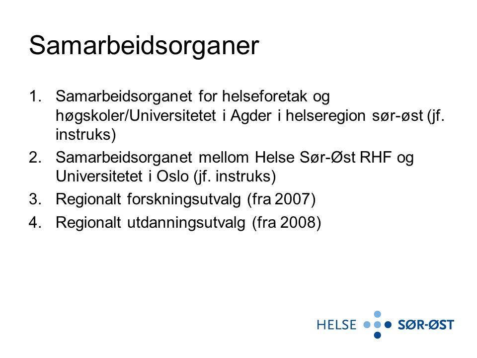 Samarbeidsorganer Samarbeidsorganet for helseforetak og høgskoler/Universitetet i Agder i helseregion sør-øst (jf. instruks)
