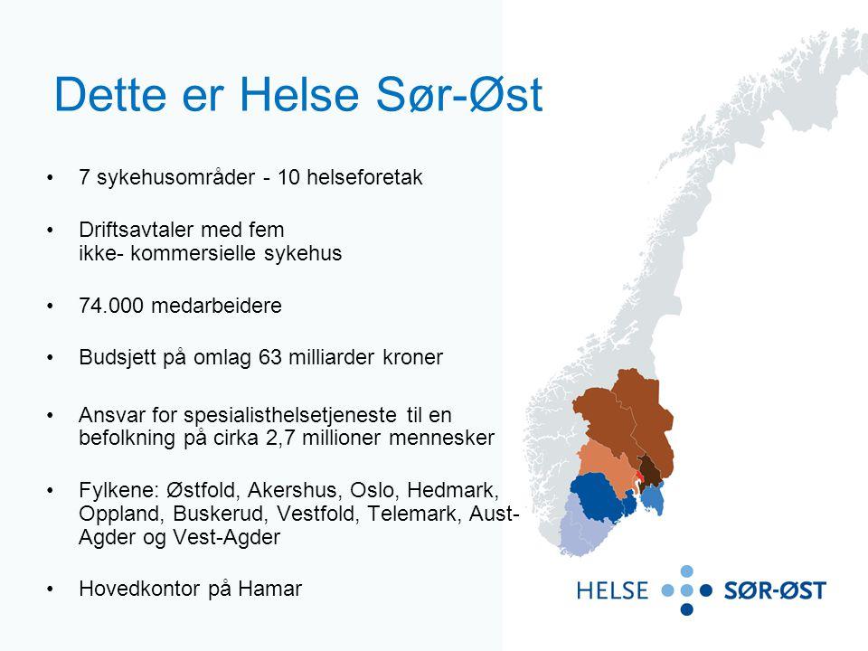 Dette er Helse Sør-Øst 7 sykehusområder - 10 helseforetak