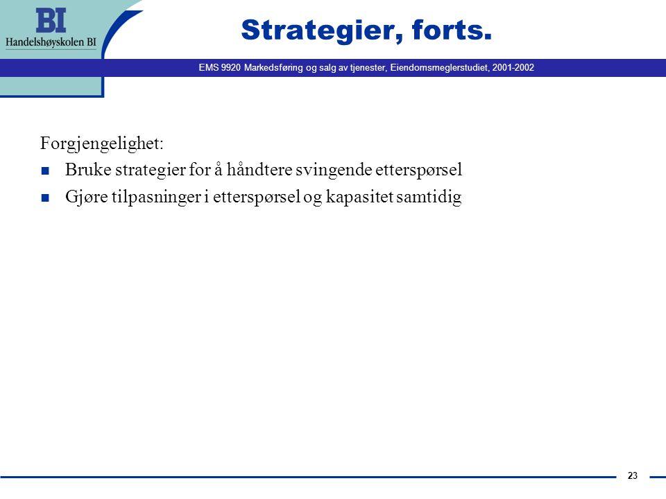 Strategier, forts. Forgjengelighet: