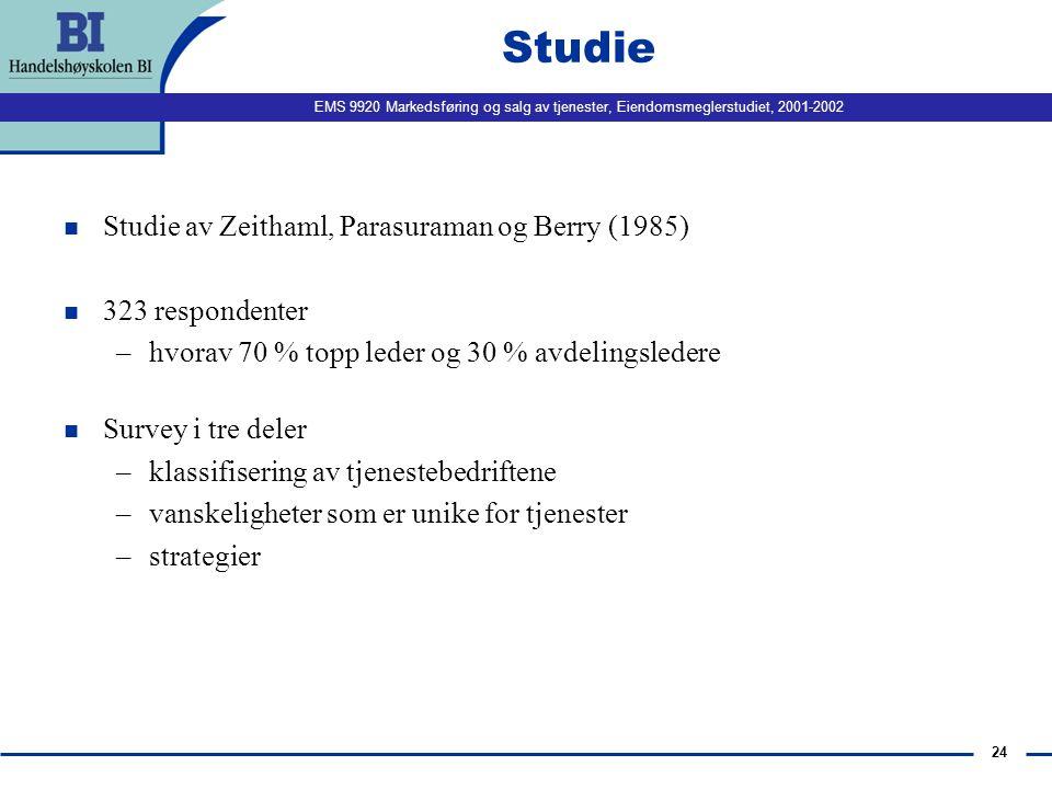 Studie Studie av Zeithaml, Parasuraman og Berry (1985)