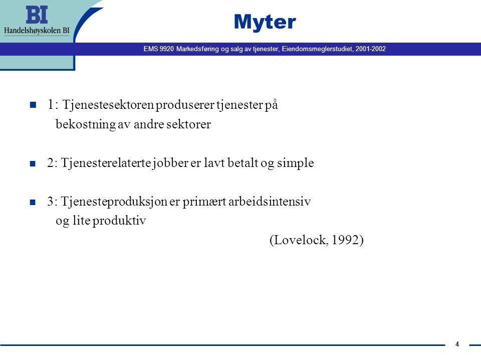 Myter 1: Tjenestesektoren produserer tjenester på