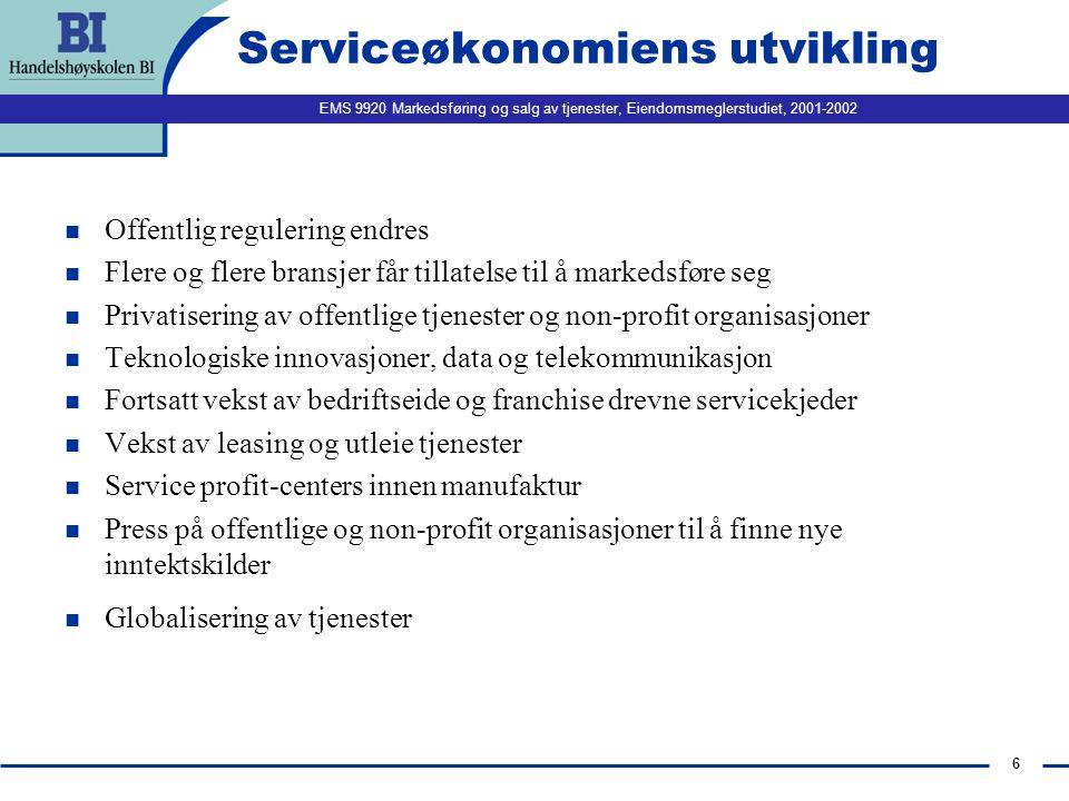 Serviceøkonomiens utvikling