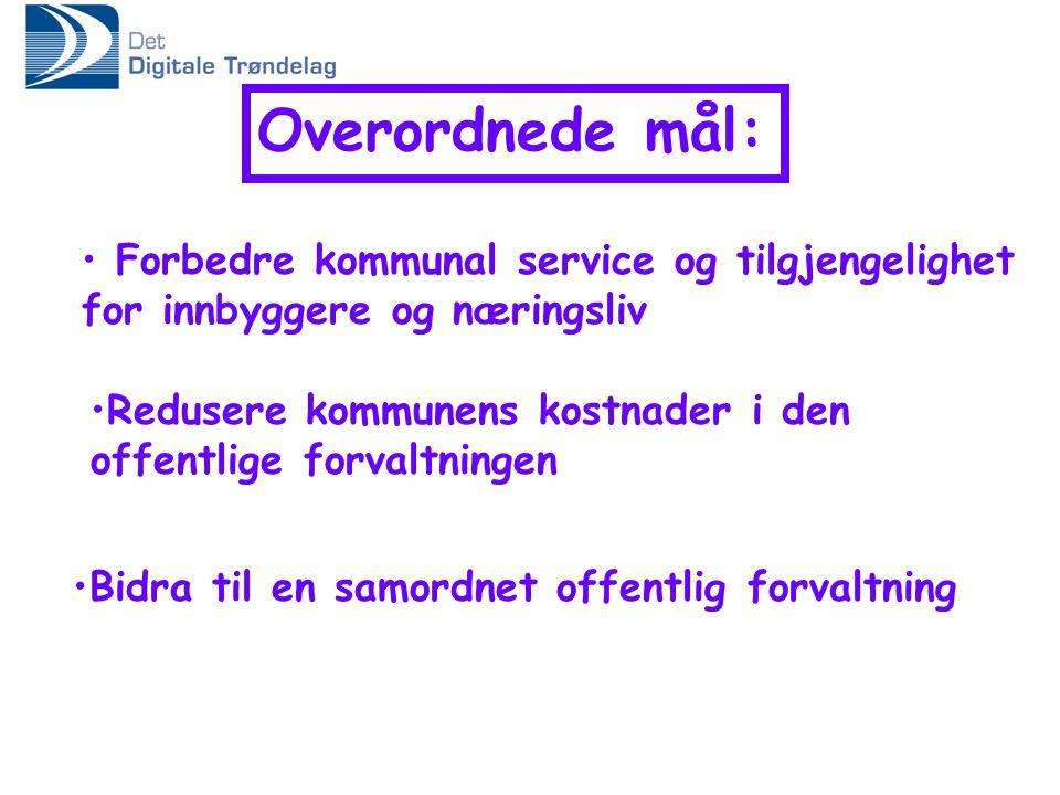 Overordnede mål: Forbedre kommunal service og tilgjengelighet