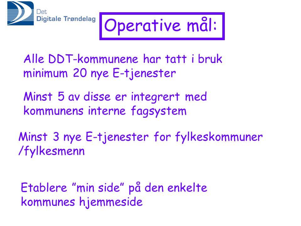 Operative mål: Alle DDT-kommunene har tatt i bruk