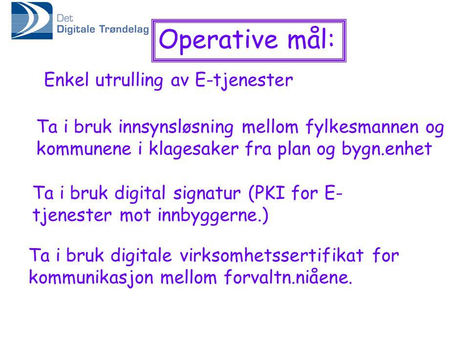 Operative mål: Enkel utrulling av E-tjenester