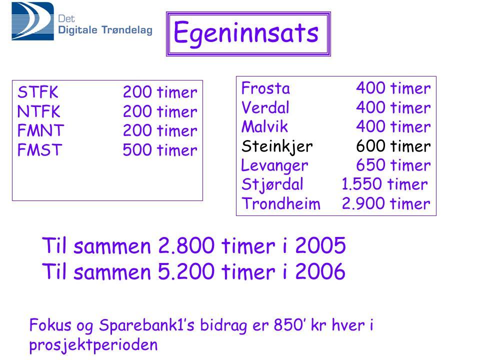 Egeninnsats Til sammen 2.800 timer i 2005