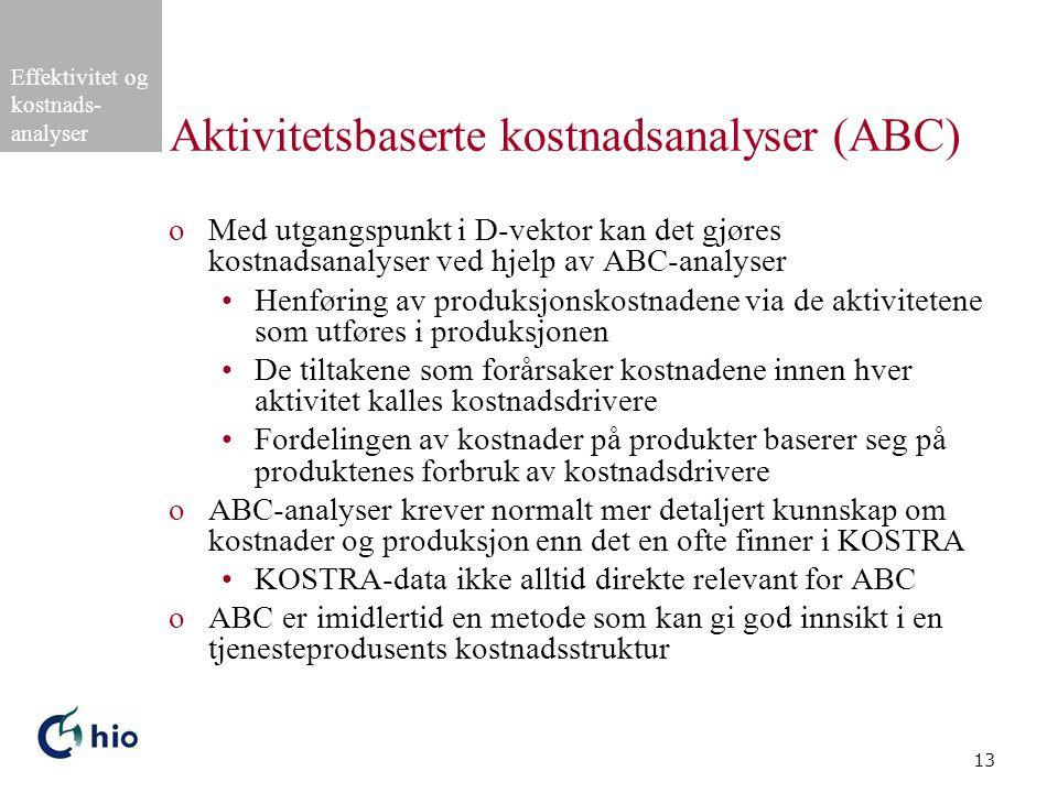 Aktivitetsbaserte kostnadsanalyser (ABC)