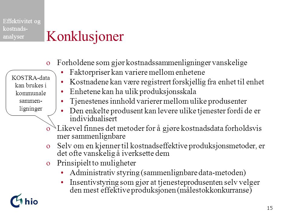 KOSTRA-data kan brukes i kommunale sammen-ligninger