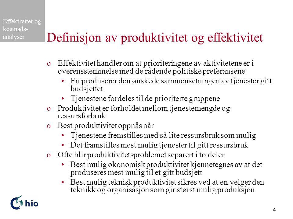 Definisjon av produktivitet og effektivitet