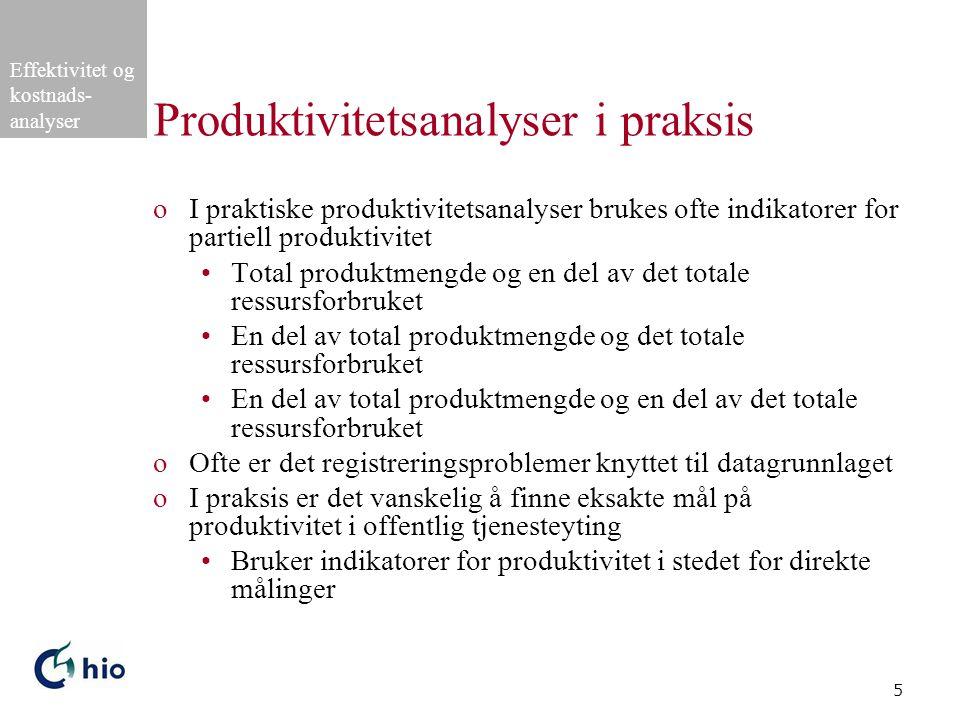 Produktivitetsanalyser i praksis