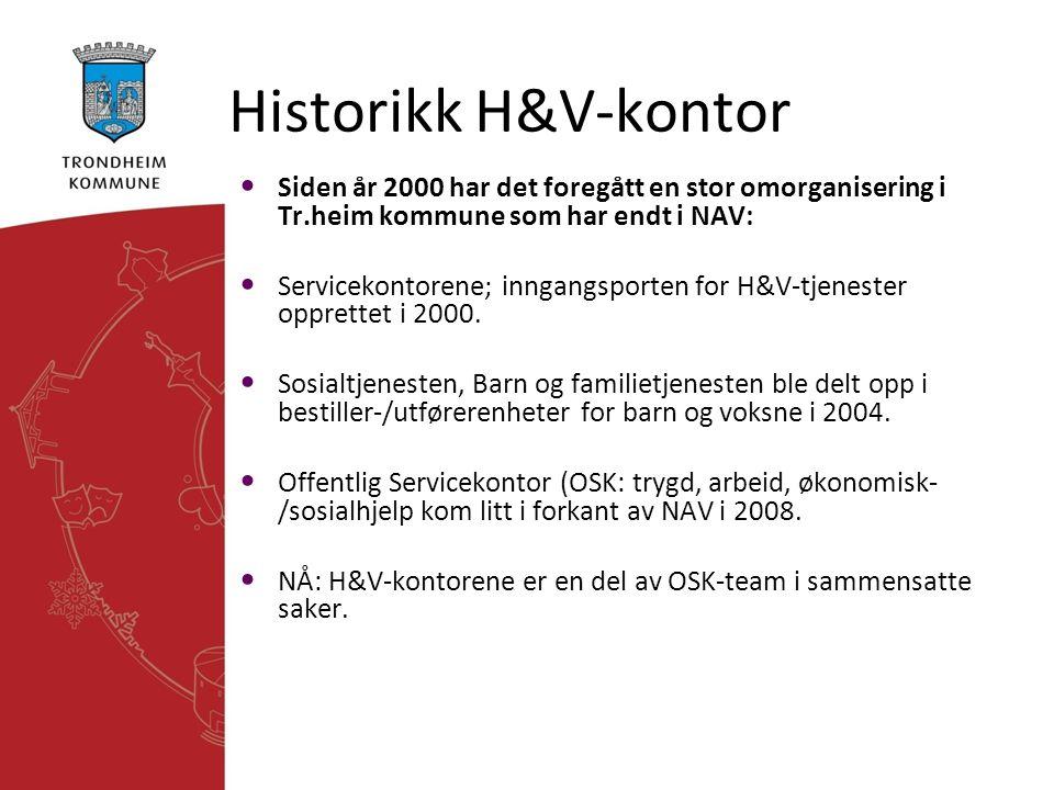 Historikk H&V-kontor Siden år 2000 har det foregått en stor omorganisering i Tr.heim kommune som har endt i NAV: