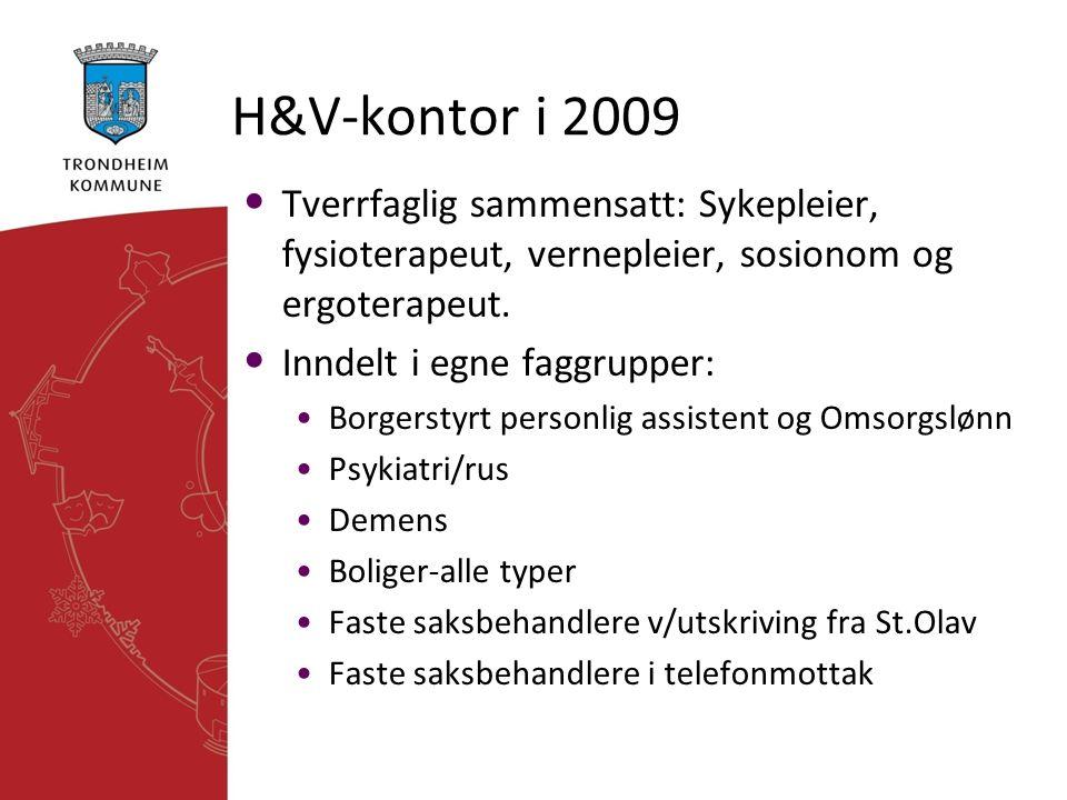 H&V-kontor i 2009 Tverrfaglig sammensatt: Sykepleier, fysioterapeut, vernepleier, sosionom og ergoterapeut.