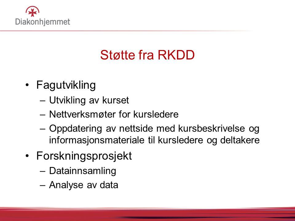 Støtte fra RKDD Fagutvikling Forskningsprosjekt Utvikling av kurset