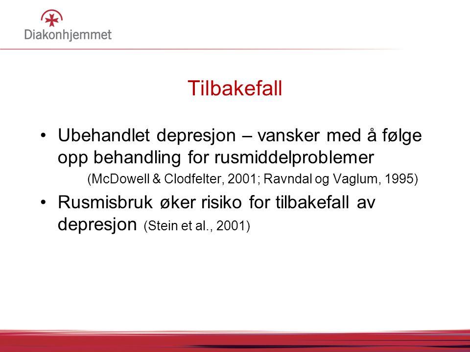 Tilbakefall Ubehandlet depresjon – vansker med å følge opp behandling for rusmiddelproblemer. (McDowell & Clodfelter, 2001; Ravndal og Vaglum, 1995)