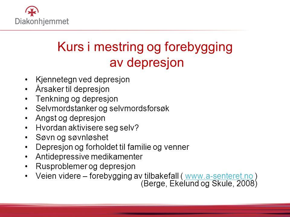 Kurs i mestring og forebygging av depresjon