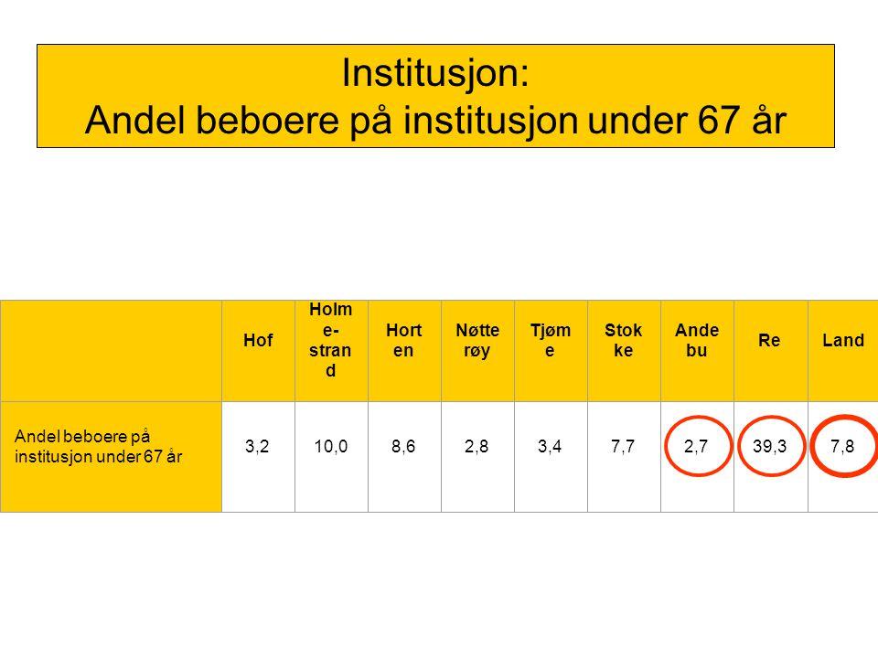 Institusjon: Andel beboere på institusjon under 67 år
