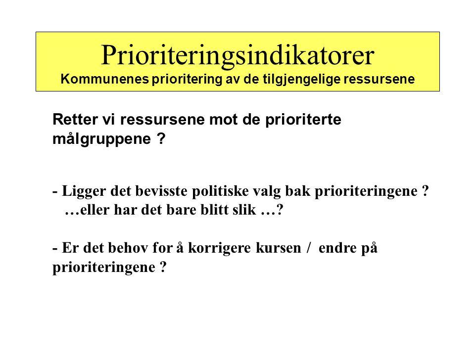 Prioriteringsindikatorer Kommunenes prioritering av de tilgjengelige ressursene