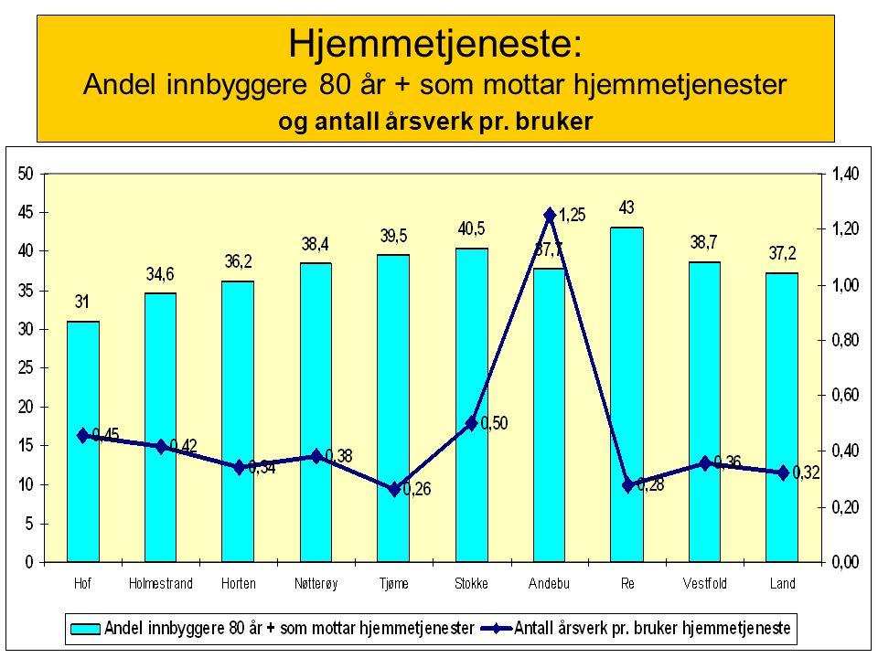 Hjemmetjeneste: Andel innbyggere 80 år + som mottar hjemmetjenester og antall årsverk pr. bruker