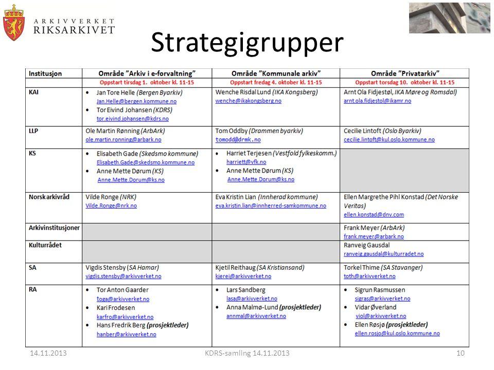 Strategigrupper 14.11.2013 KDRS-samling 14.11.2013