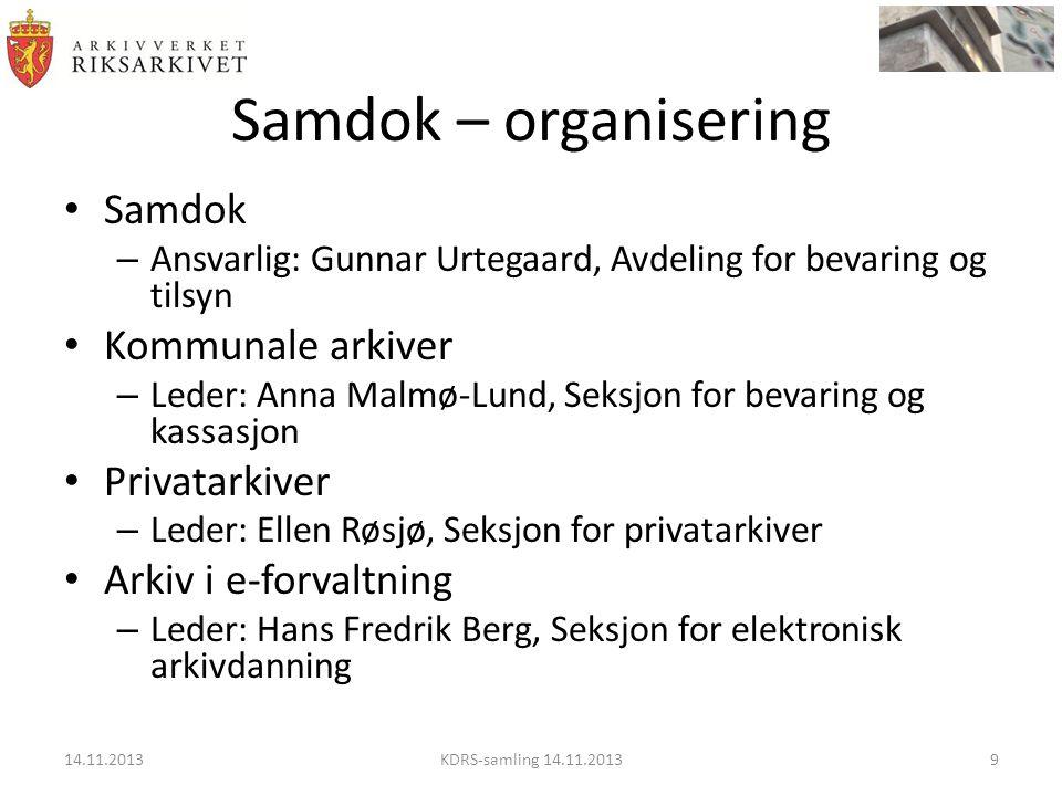 Samdok – organisering Samdok Kommunale arkiver Privatarkiver